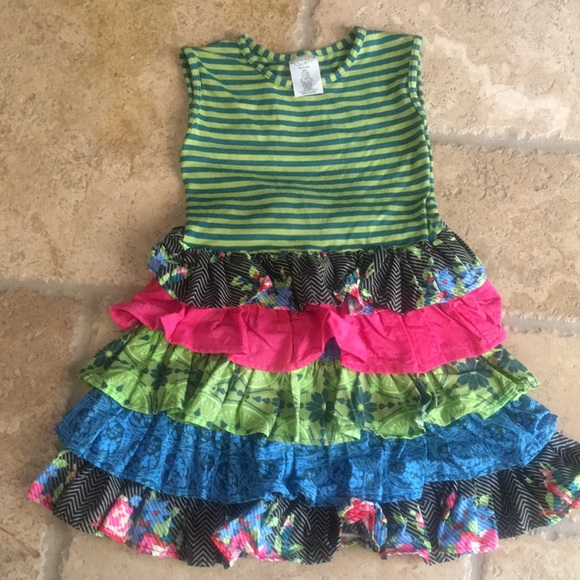 Persnickety Other - Persnickety Ruffle Dress 5 years Teal Lime Pink